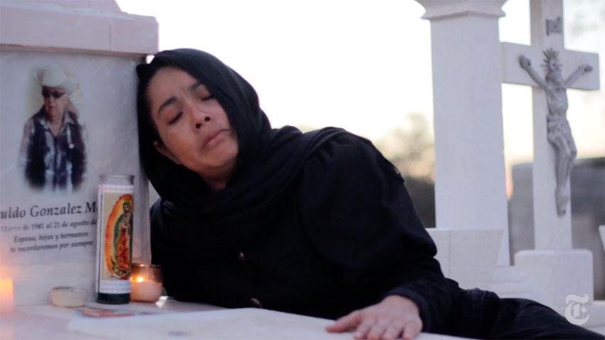 Grieving mourner Katleen Chávez