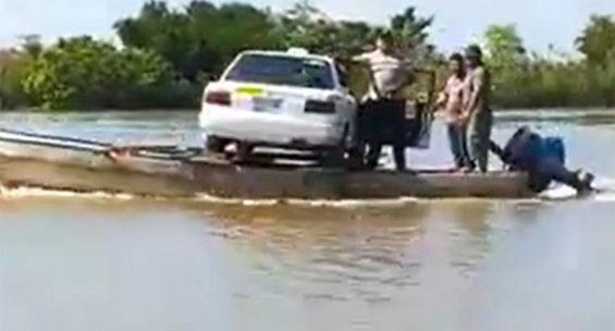 A car is ferried across the Usumacinta River in Tabasco.