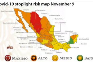 The stoplight map indicates the coronavirus risk level state by state.