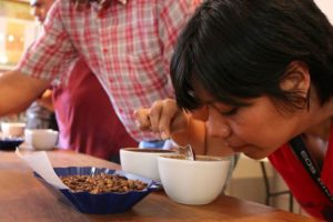 A coffee tasting event at Yuku Kafe in Oaxaca.