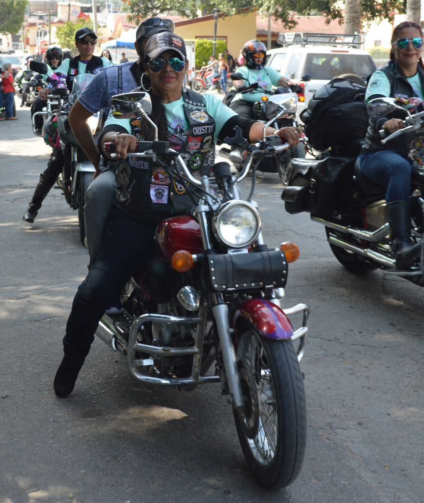 A Chicas Biker participant arrives in Atequiza, Jalisco.