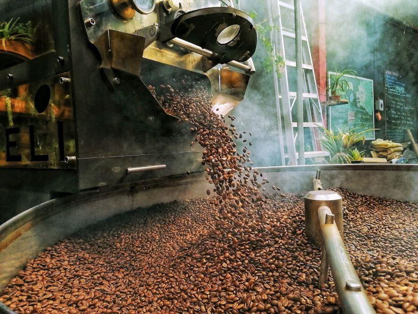 Roasting beans at Black Dragon Coffee in San Cristobal de las Casas, Chiapas.