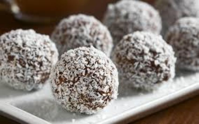 Soak the dates first before starting on these coconut-rolled sweets.