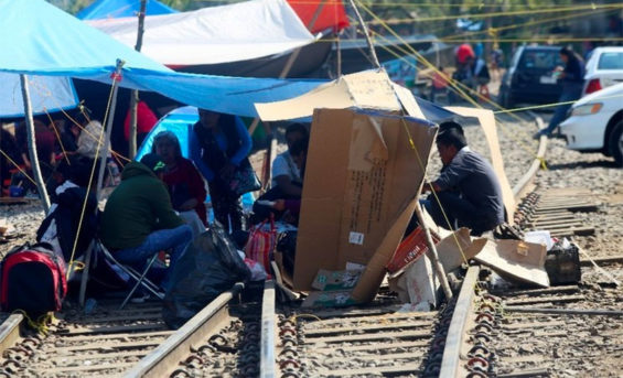 Teachers' protest camp on a Michoacán rail line.