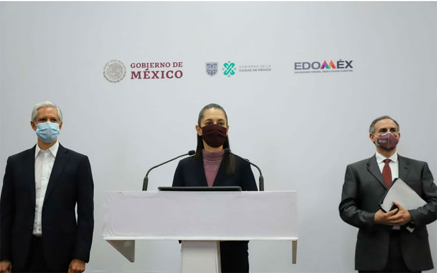 Del Mazo, Sheinbaum and López-Gatell at Friday's press conference.