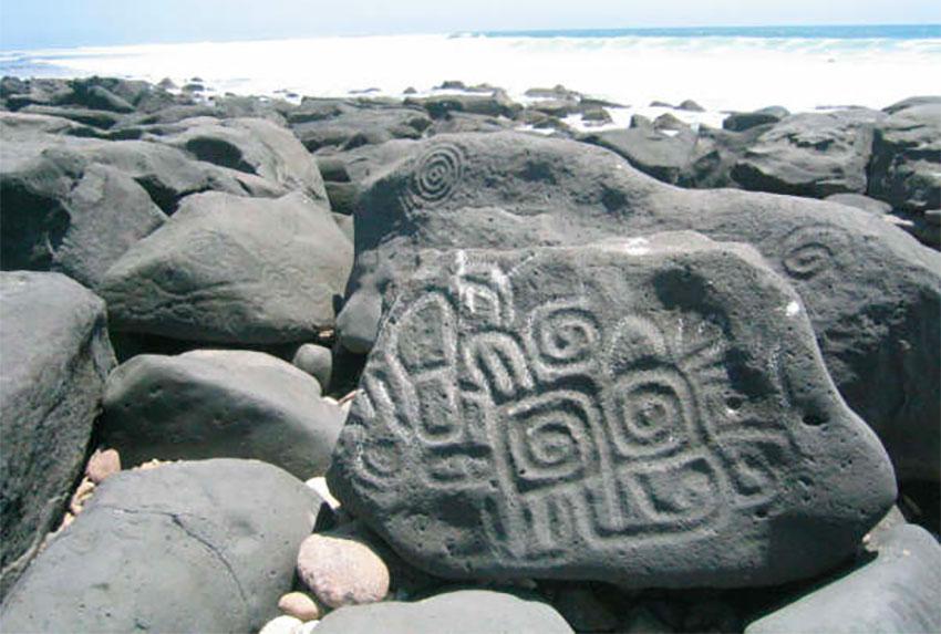 Petroglyphs at Las Labradas, a destination on the Pacific Jewels road trip.