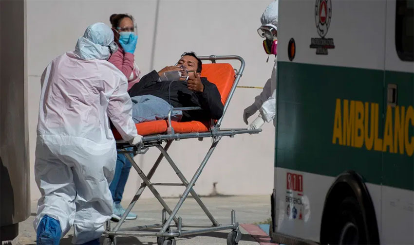 A Covid patient is admitted to a Mexico City hospital.