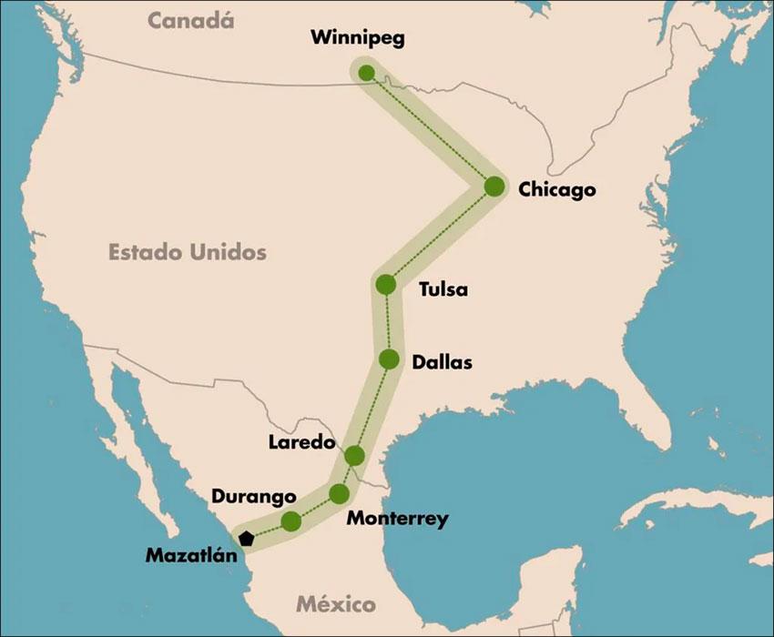Route of the rail corridor between Mazatlán and Winnipeg.