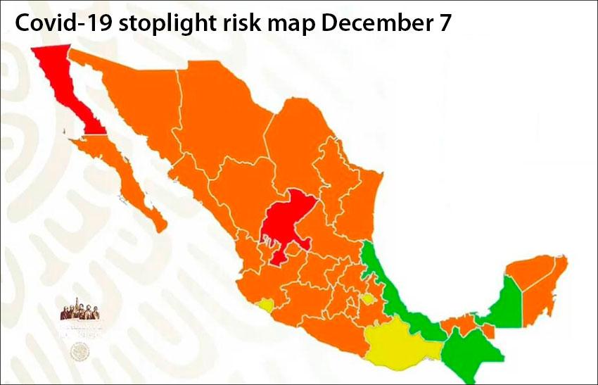 The new stoplight map shows two states at maximum risk, 24 at high, three at medium and three at low.