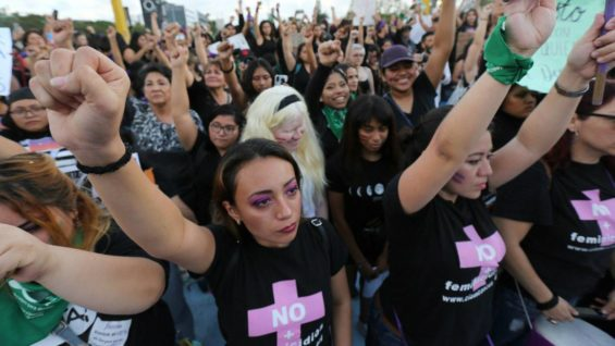 Demonstrators at a Mexico City march on International Women's Day.