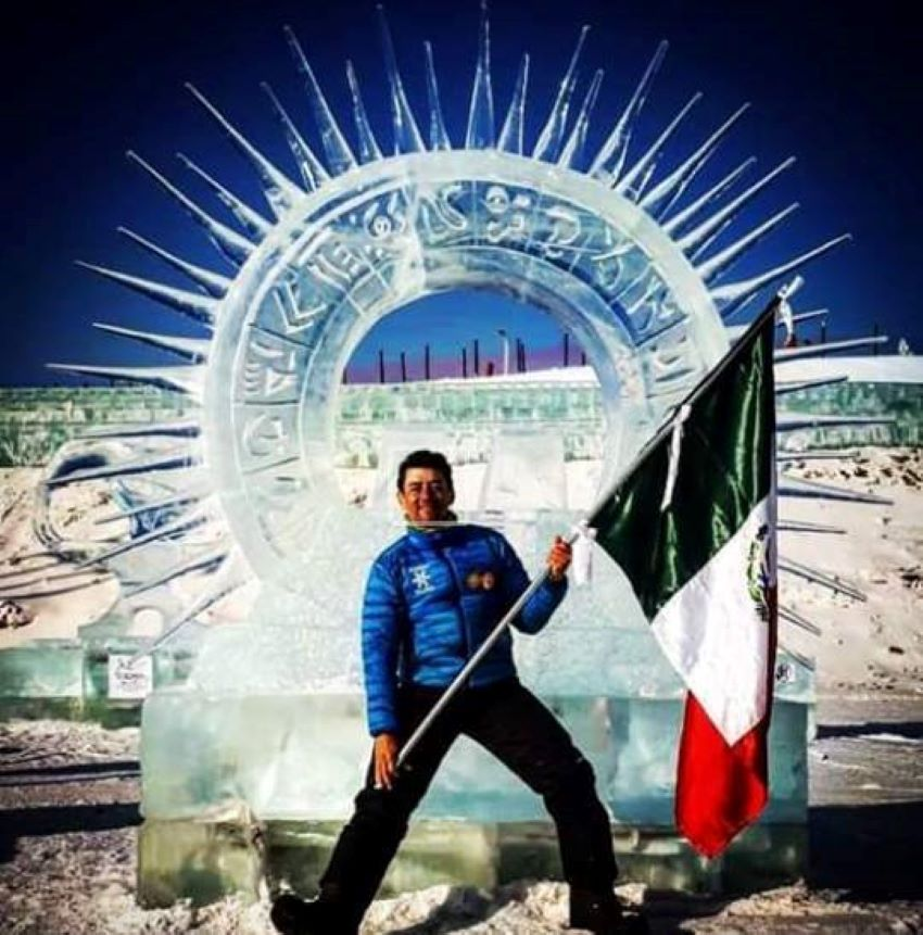 Carlos Ramírez Pereyra in China at the Harbin International Ice and Snow Sculpture Festival. Many Mexicans in the sport use pre-Hispanic iconography.