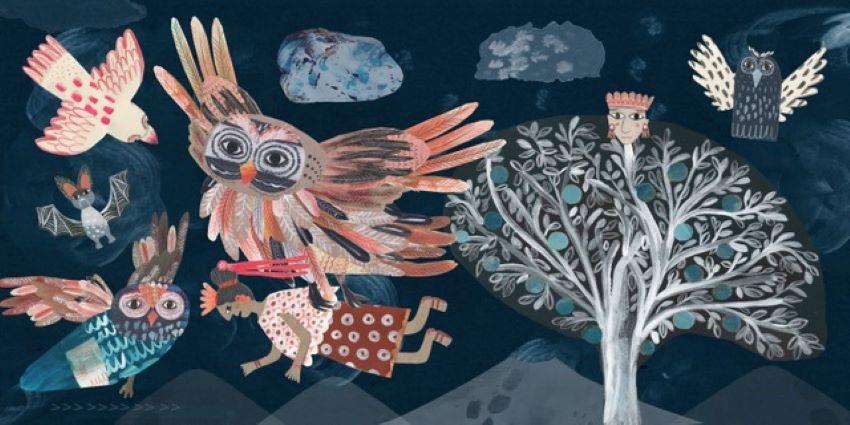 An image of owls taking a Mayan princess to be sacrificed.