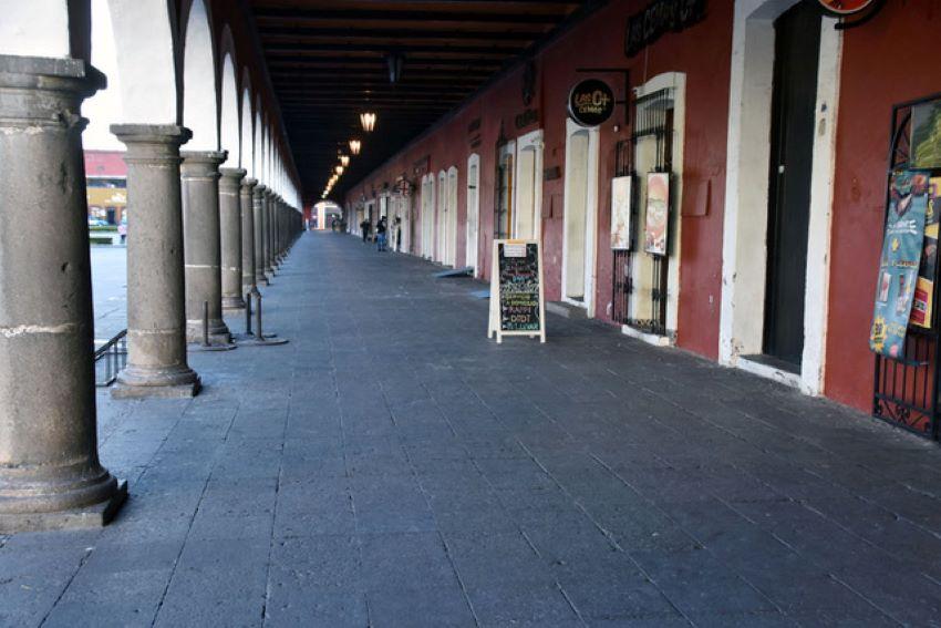 Cholula's zócalo awaits the tourists' return.