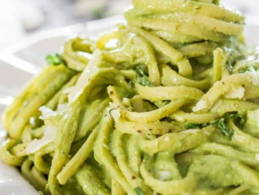 Avocado is the secret ingredient in this pasta dish.
