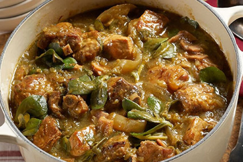 This pork stew goes well with beans and tortillas.