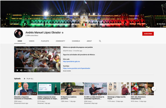 The president has over 2 million subscribers to his YouTube channel.