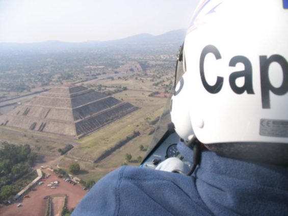 Nicolas Tranchart flying a gyrocopter over Teotihuacan, a feat he says he'd never be allowed to do in his native France.