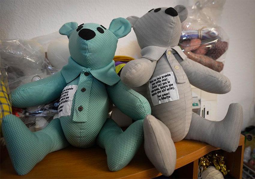 Some of Guerrero's teddy bears