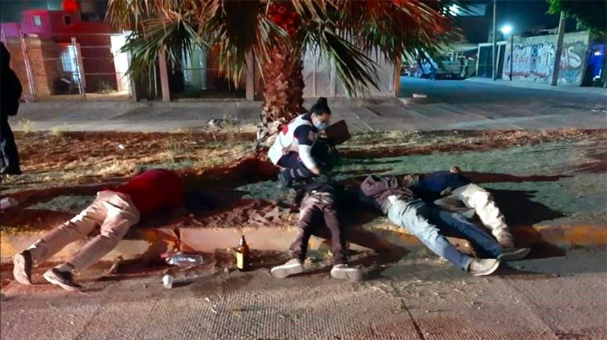 Bodies on the roadside after attack in Celaya.