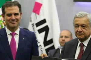 Elections institute chief Lorenzo Córdova and the president