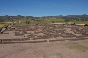 The archaeological dig at the site of the Aztec town of Zultépec.