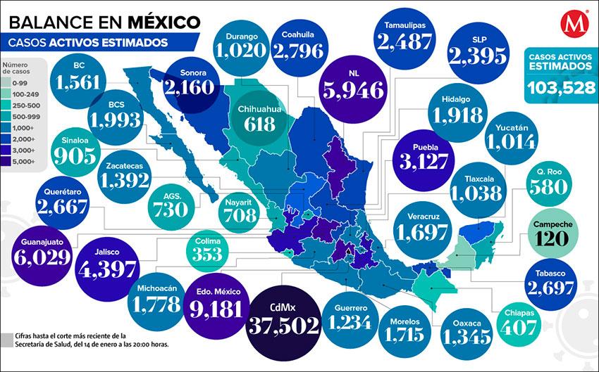 Estimated active coronavirus cases as of Thursday night.