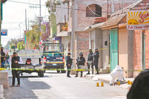 The murder scene in Juventino Rosas on Tuesday.
