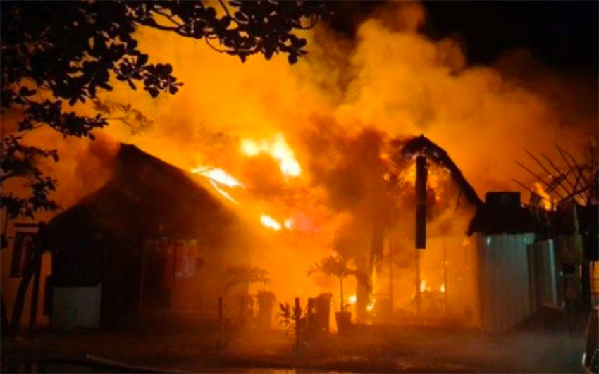 Wednesday's fire rages in Tulum.