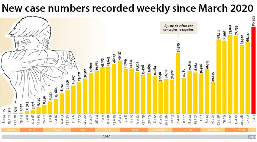 New cases spiked in November and have been high ever since.