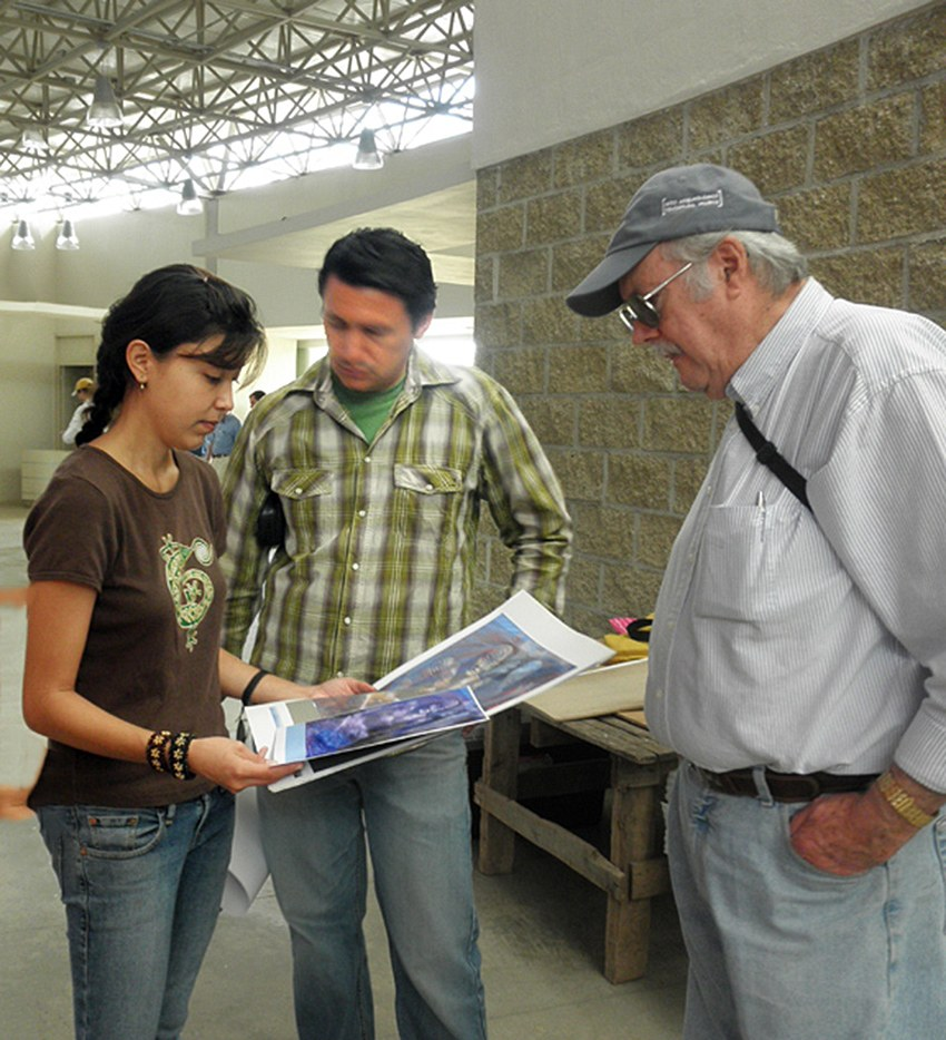 Project director Ericka Blanco with fellow archaeologists Rodrigo Esparza and Phil Weigand.