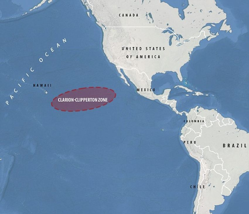 The Clarion-Clipperton Zone, in international waters, lies between Hawaii and Mexico.