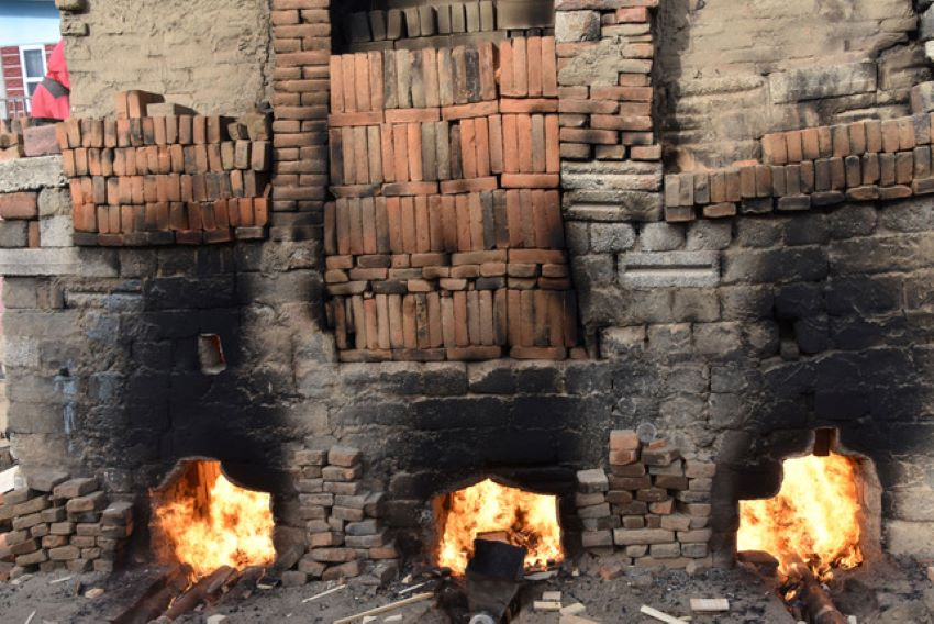 This wood-fired oven holds tens of thousands of bricks.