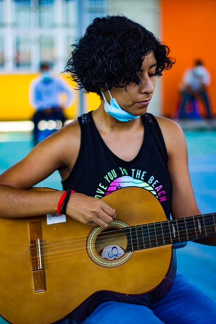 One of Antunez's students hard at practice.