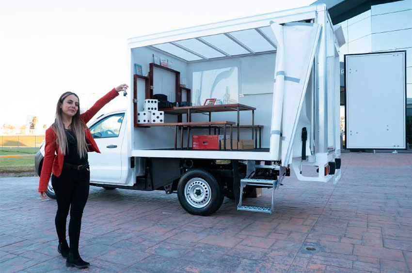 Teacher Nallely Esparza and her classroom on wheels.