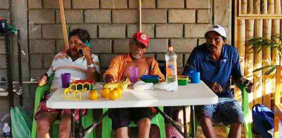 The three fishermen after their rescue in Oaxaca.