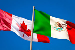 mexican and canadian flags