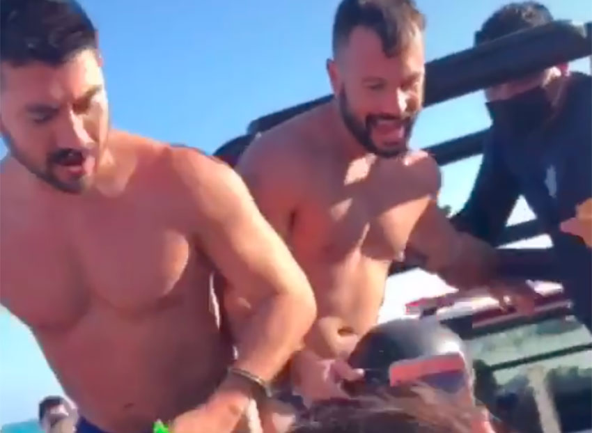 The two men who were arrested on the beach in Tulum.