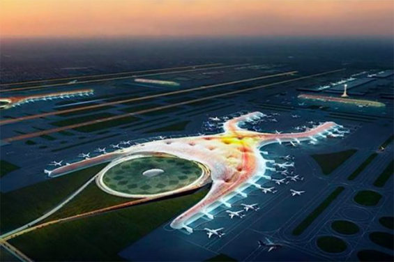 An architectural rendering of what was to be the Mexico City airport.