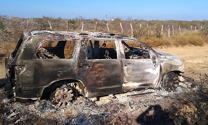 The burned out Toyota that had already been confiscated once in connection with human smuggling.