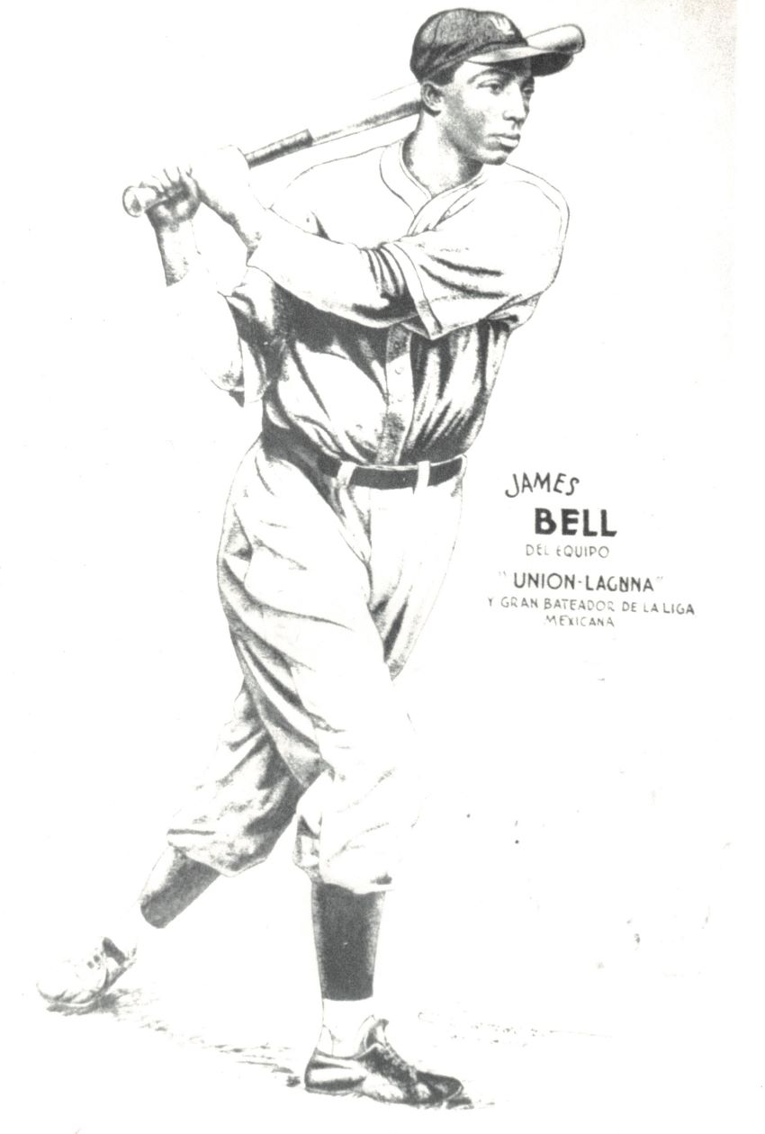 A period Mexican souvenir postcard featuring American Negro League star James Bell's image when he played on Mexican teams during the 1940s.