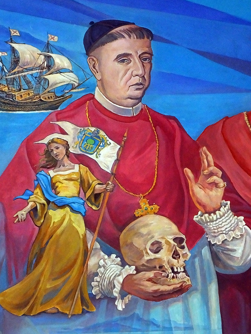 Detail with Beatriz Hernández, who influenced the founding of Guadalajara in its present site. Behind her is Antonio Alcalde, diocese bishop in the 1700s.
