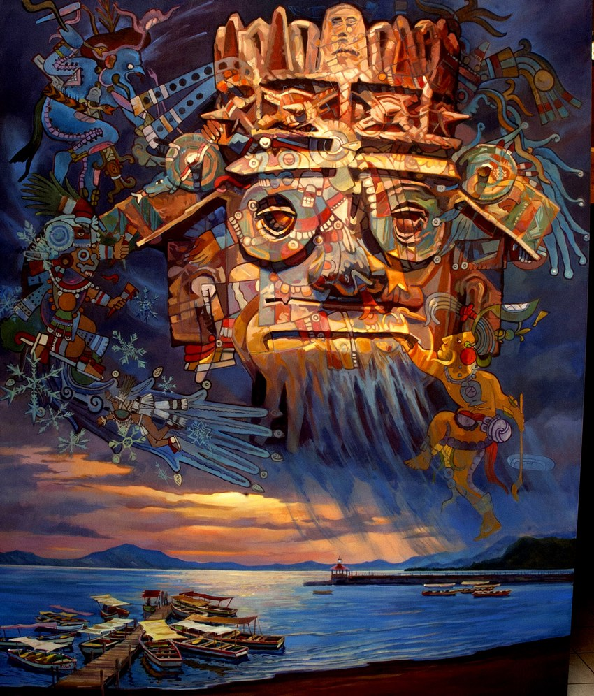 Tlaloc Reigns Over Chapala graces the city's water commission building.
