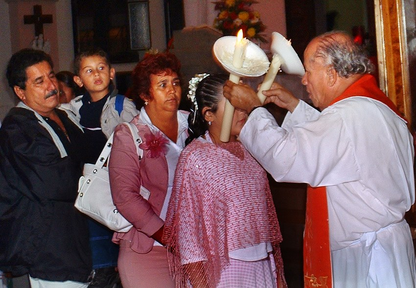 On February 3, the feast of Saint Blaise, residents of San Blas line up for the traditional blessing of the throat, an unusual Catholic ritual in Mexico.