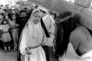 The dramatic encounter between the Virgin Mary and Jesus on his way to the crucifixion during Holy Week festivities in Tlalixtac, Oaxaca.