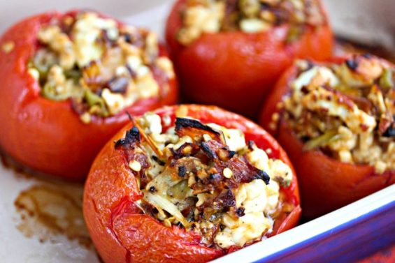 Spicy and salty combine with flair in these feta-stuffed tomatoes.