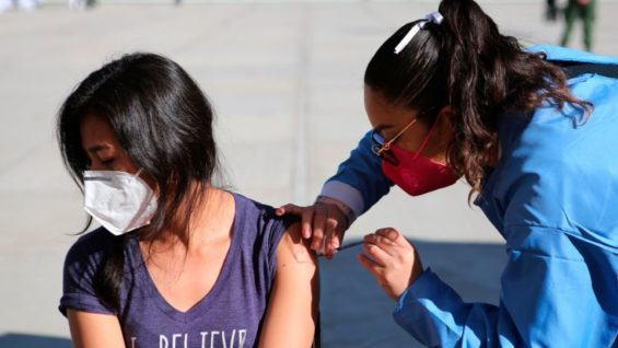 A woman receives a Covid-19 vaccine in Querétaro in December.