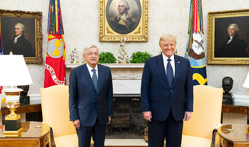 López Obrador and Trump in the White House last year.