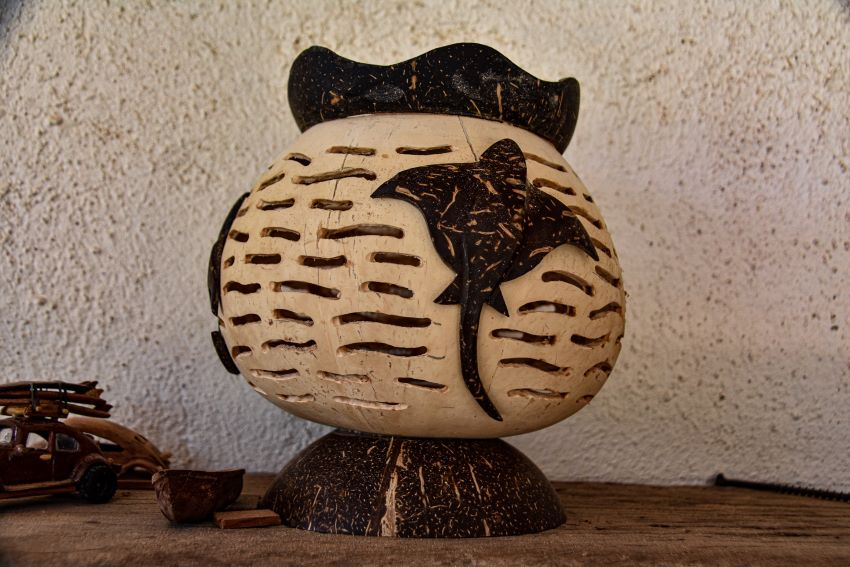 An example of artisan work made from coconut that's sold at the museum.