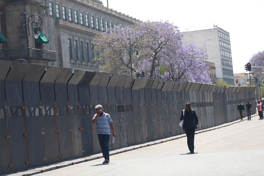 Barriers around the National Palace in Mexico City