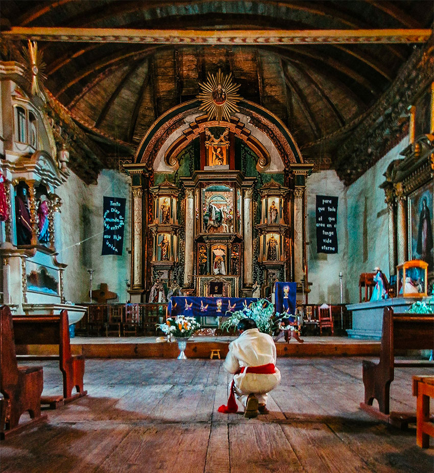 The interior of the church in Nurio before Sunday's fire.